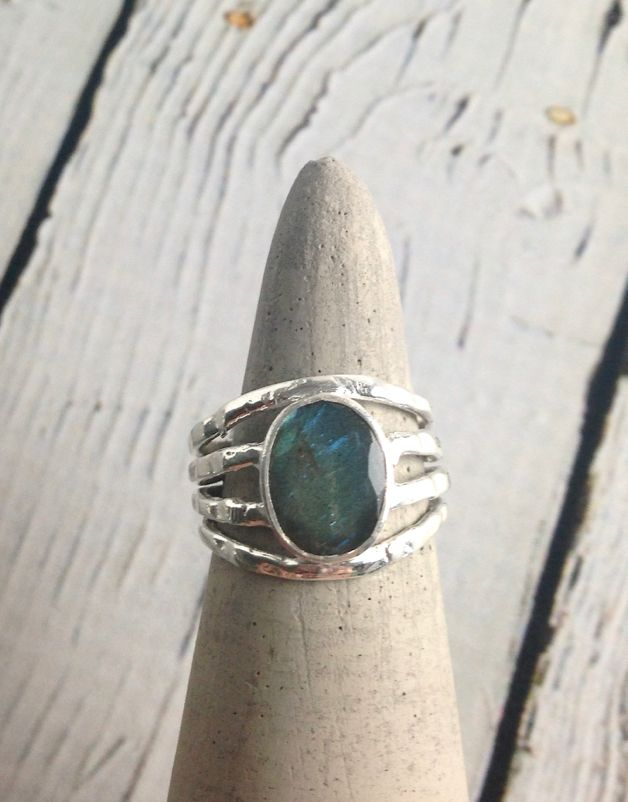Sterling Silver Oval Labradorite, Multi band Ring, Size 9