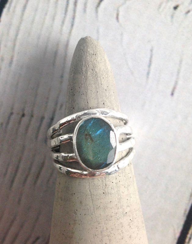 Sterling Silver Oval Labradorite, Multi band Ring, Size 7