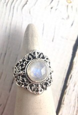 Sterling Silver Ring with Round Faceted Moonstone, Size 8
