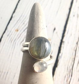 Sterling Silver Wrap Ring with Moonstone and Labradorite, Size 7
