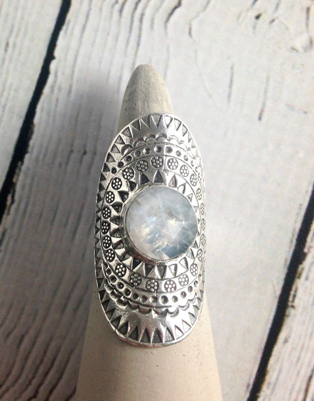 Hill Tribe Stamped Silver Ring with Round Faceted Moonstone, Size 8