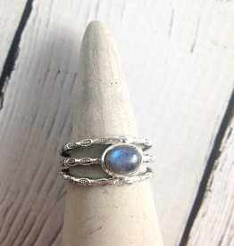 Sterling Silver Oval Cabochan Labradorite, stamped multi band Ring, Size 6