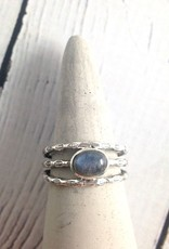 Sterling Silver Oval Cabochan Labradorite, stamped multi band Ring, Size 8