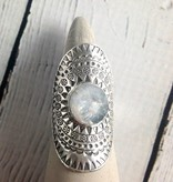 hilltribe Stamped Silver Ring with Round Faceted Moonstone, Size 9