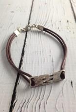 Sterling Hingle Bracelet on Brown Cord