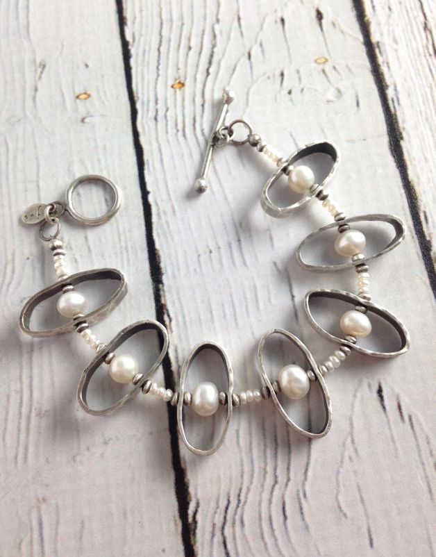 Handmade Oxidized Sterling Silver Oval Bracelet with White Coin Pearls