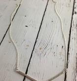 "Handmade Hammered sterling v bar necklace with flush set 1.5mm white cz on 22"" chain"
