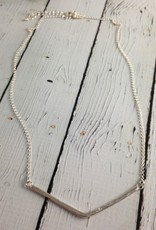 "Handmade Hammered sterling v bar necklace with flush set 1.5mm white cz on 22"" chain"