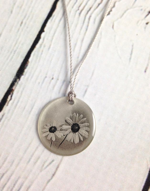 "Sterling Litho ""Happy Sunflowers"" Necklace"