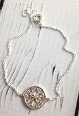 Sterling Silver Bracelet with Lotus Medallion