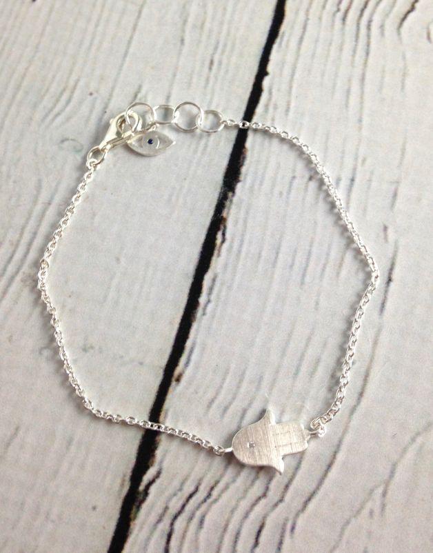 Brushed Silver Hasma with CZ Bracelet