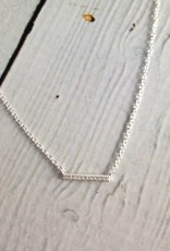 Sterling Silver Necklace with CZ pave tiny bar