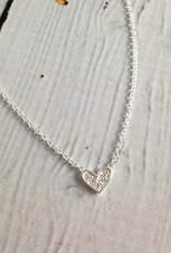Sterling Silver CZ Pave Tiny Heart Necklace