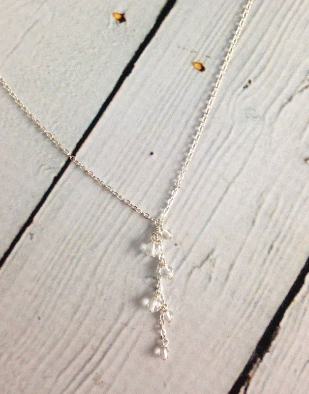 Silver Te Quiero Mama Cluster Rock Crystal Drop Necklace, 18""
