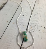 """Handmade Sterling Silver 30"""" Votive Necklace with Amazonite"""