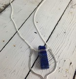 "Handmade Sterling Silver 30"" Votive Necklace with Lapis"