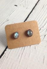 Raw Labradorite Stud Earrings