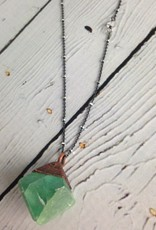 "Vivid Green Fluorite Pyramid on 24"" Oxidized Sterling Silver Satellie Chain Necklace"