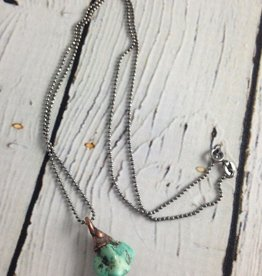 Raw Turquoise Sterling Chain Necklace