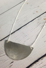 "Sterling Silver ""Jupiter"" Necklace - hammered half moon"