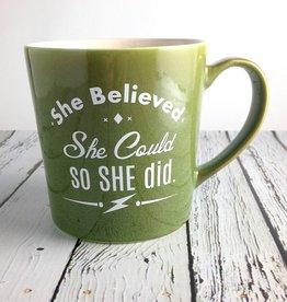 She Believed She Could, So She Did… green ceramic coffee mug