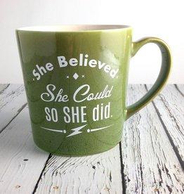 She Believed She Could, So She Did… green ceramic coffee mug