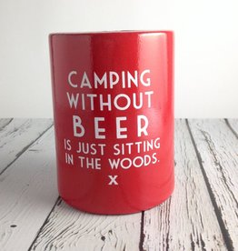 Camping Without Beer Vintage Can Holder