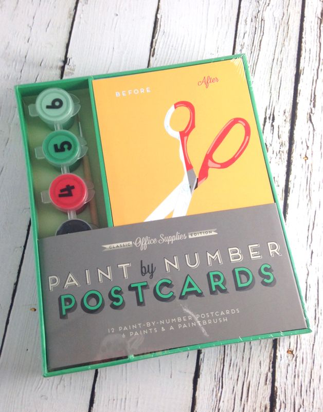 Office Supplies Paint-By-Numbers Postcards