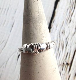 Welman Sterling Silver 3-pc hands holding a heart ring - moveable parts, please be gentle.
