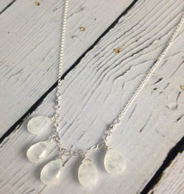 Handmade Silver Necklace with Moonstone cascade