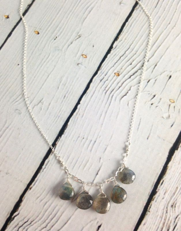 Handmade Silver Necklace with Labradorite cascade