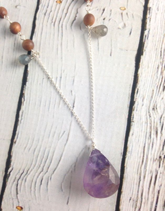 Handmade Silver Necklace with Ametrine, Labradorite, Sandalwood