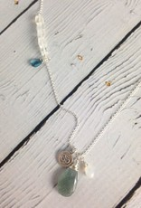 Handmade Silver Necklace with Moss Aquamarine, Moonstone, LBTopaz, Om charm