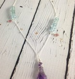 Handmade Silver Necklace with Raw Amethyst, Aquamarine, peach Tourmaline