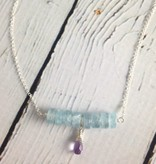 Handmade Silver Necklace with Aquamarine row, Brazillian Amethyst