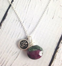 Handmade Silver Necklace with Ruby Ziosite, Om charm