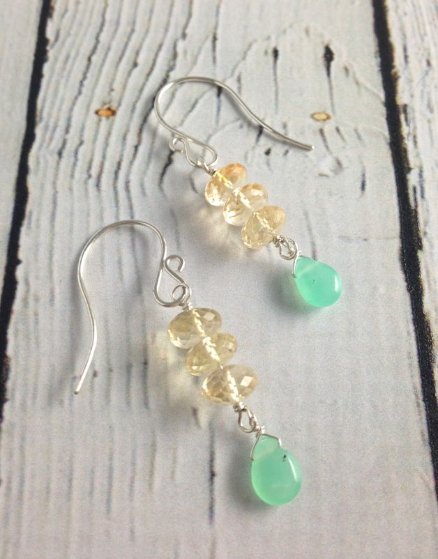 Handmade Silver Earrings with Citrine row, Chrysoprase