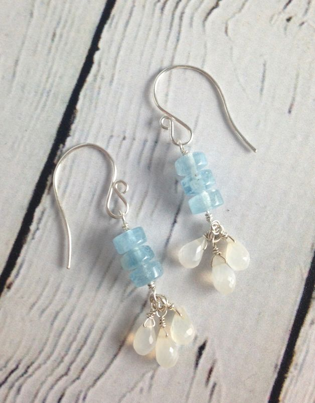 Handmade Silver Earrings with Aquamarine, White Moonstone trio