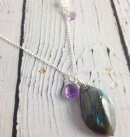 Handmade Silver Necklace with Labradorite, Moonstone, Amethyst