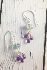 Handmade Silver Earrings with Amethyst, Moss Aquamarine
