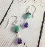 Handmade Silver Earrings with Natural Emerald, Amethyst