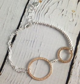 Handmade Two Textured 14k GF Ovals on Sterling Chain and Bead Bracelet