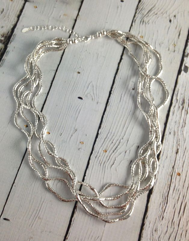 Silver Multi Twist Bead Necklace