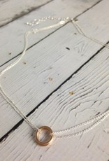 Handmade Three 14k GF Circles on Delicate Double Chain Necklace