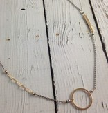 Handmade 14k gf circle and bar necklace on oxidized sterling chain