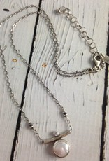 Handmade Sterling Bezel Set White Coin Pearl with CZ on Chain Necklace