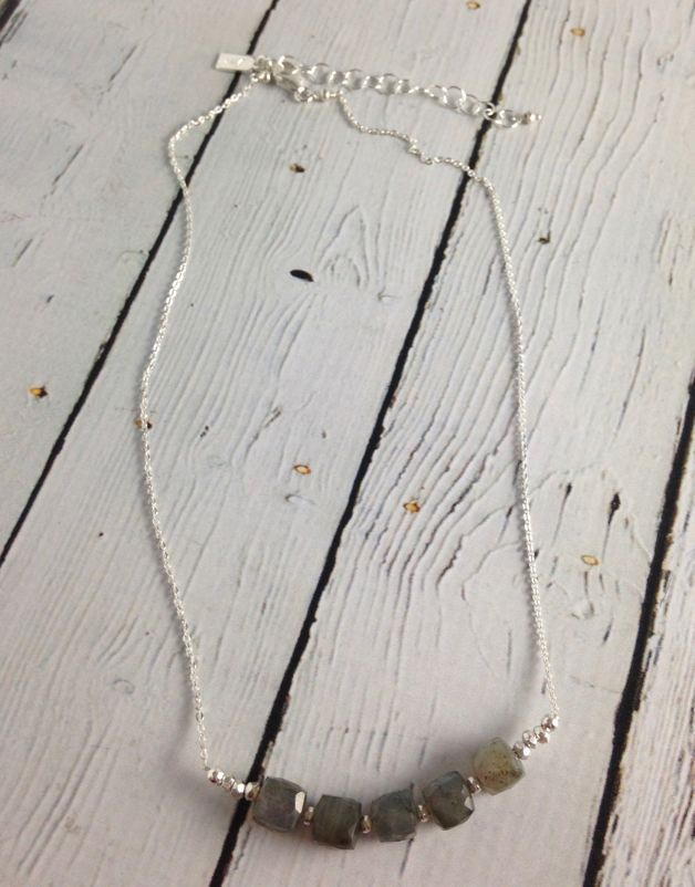 Handmade Faceted 8mm Labradorite Cubes on Sterling Necklace