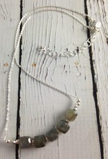Handmade Faceted Labradorite Cubes on Sterling Necklace