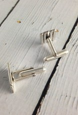 Handmade Hammered and Etched Line Sterling Cufflinks