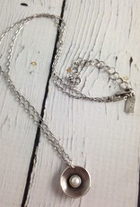 Handmade Oxidized Sterling Cup pendant with white 4mm half drill pearl on chain Necklace